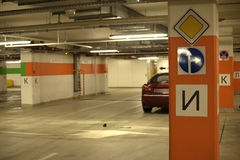 Underground parking with cars. Royalty Free Stock Images