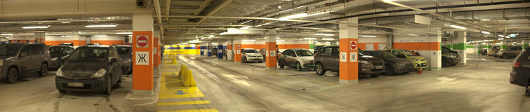 Underground parking with cars. Stock Photography