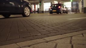 Underground parking with cars stock footage