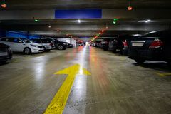 Underground Parking with cars. At the supermarket Royalty Free Stock Images
