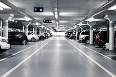 Underground parking. With cars. White colors Stock Photography