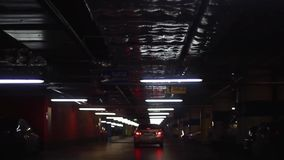 Underground parking with cars. 1920x1080 stock footage