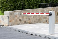 Underground parking entrance barrier side look Stock Photography
