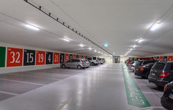 Underground parking with entrance to a casino issued as a roulette Stock Photo