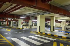 Underground car parking. Underground parking in the underground floor of the city royalty free stock image