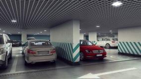 Underground parking flytrough 1-2 floor. 3d animation stock video