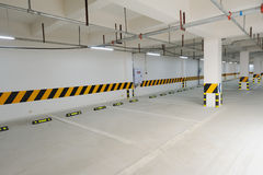 Underground parking garage. An empty underground parking garage royalty free stock photography