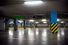 Underground parking garage interior Stock Photo