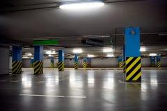 Underground parking garage interior. Underground parking garage without cars Stock Photo