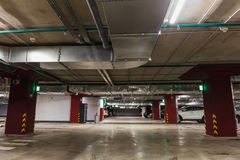 Underground parking or garage interior, city car infrastructure Royalty Free Stock Photography