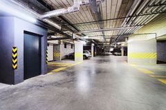 Underground Parking garage in modern apartment house. Underground Parking garage in a modern apartment house stock photography