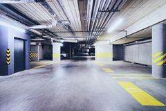 Underground Parking garage modern building. Underground Parking garage, a modern building royalty free stock photos
