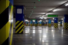 Underground parking garage of shopping center Stock Photography