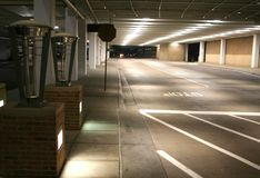 Underground parking lot. Road leading to parking lot Stock Images