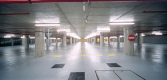 Underground parking lot. New underground parking under the squere in Zagreb royalty free stock image