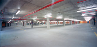 Underground parking lot. New underground parking under the squere in Zagreb stock image