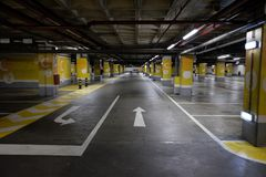 Underground parking mall. In portugal Stock Photo