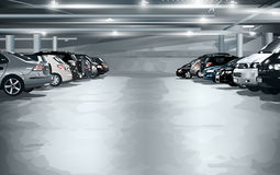Underground parking. Modern underground parking with cars Royalty Free Stock Photography