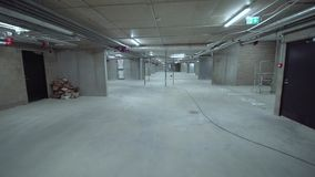 Underground parking in a new house stock footage