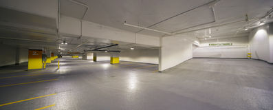 Underground parking pannorama Stock Photo