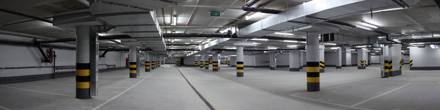 Underground parking panorama Royalty Free Stock Image