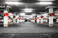 Underground parking selective. Underground parking in the building. Selective coloring effect Stock Photo