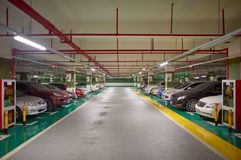 Underground parking. SHENZHEN, CHINA - DECEMBER 16, 2014: underground parking in ShenZhen. ShenZhen is regarded as one of the most successful Special Economic Stock Photos