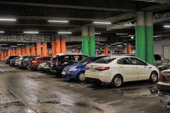 Underground parking in the shopping center Stock Images