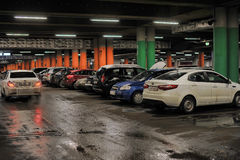 Underground parking in the shopping center Stock Photo