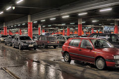 Underground parking in the shopping center Royalty Free Stock Photography