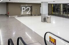 Underground parking shopping mall entrance. Underground parking shopping mall entrance with elevator doors Stock Images
