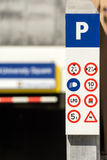 Underground Parking Signs Stock Photography