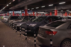 Underground parking at the store Royalty Free Stock Photo