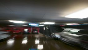 Underground parking, time-lapse. Underground parking in mall, time-lapse stock video
