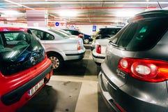 Underground parking, University Square, Bucharest, Romania Stock Photo