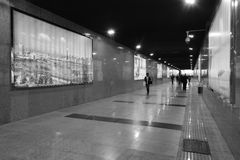 Underground passage black and white image Stock Photo