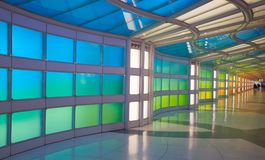 Underground Passage In The Chicago O Hare Airport Stock Images