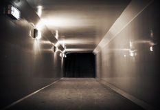 Underground passage with lights Royalty Free Stock Photography