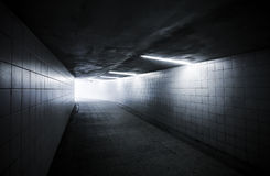 Underground passage with lights Royalty Free Stock Images