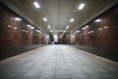 Underground passage with lights Royalty Free Stock Photos