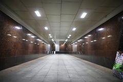 Underground passage with lights. On without people at nightr Stock Image