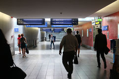 Underground passage. Underground people are walking in a train station passage, in Luxembourg Stock Image