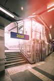 Underground passage with stairs  and elevator. Underground passage with stairs and elevator Royalty Free Stock Photo