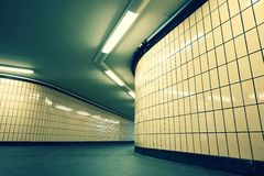 Underground passage from subway. Narrow exit to the city Stock Photo