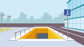 Underground pedestrian crossing perspective vector illustration. City view Royalty Free Stock Photos