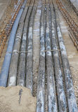 Underground pipes corrugated for optical fiber and power cables Stock Photography