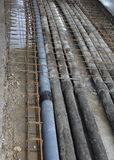 Underground pipes corrugated for optical fiber and power cables Stock Photo