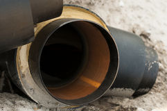 Underground pipes for heating of houses Stock Images