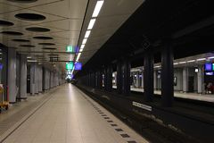Underground Platform. Empty underground platform in Amsterdam when out of business time Royalty Free Stock Images