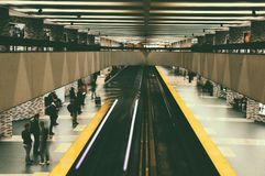 Underground platform of the Montreal metro. Montréal is the largest city in the Canadian province of Quebec. Located on an island in the San Lorenzo river, it stock images